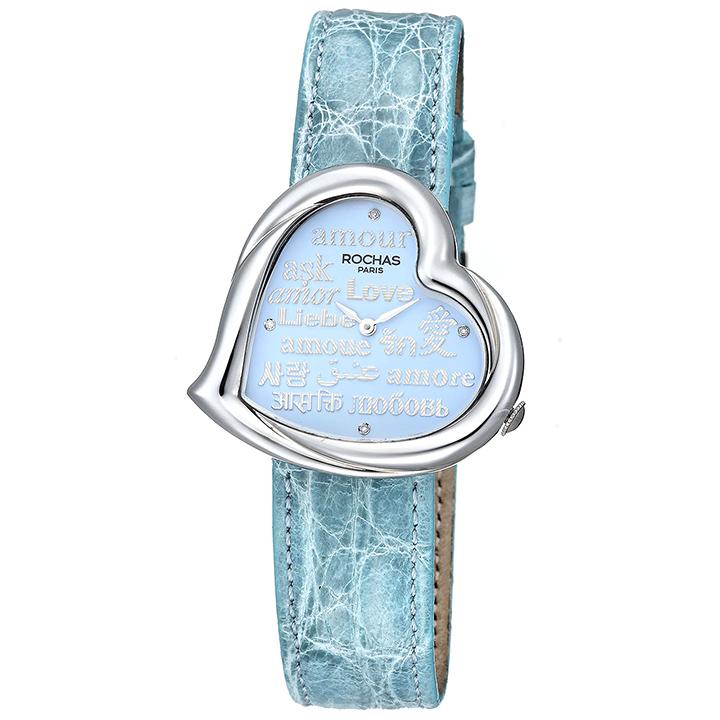 ハート型のレディース時計 フランスのラグジュアリーブランド ROCHAS(ロシャス)RJ69 サックスブルー/シルバー/サックスブルー ジュエリーウォッチ