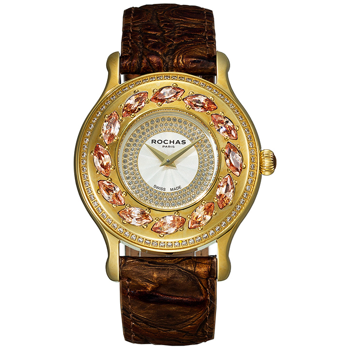 [ポイント10倍]フレグランスが世界的に有名なフランスのファッションブランド ROCHAS(ロシャス)のレディース腕時計 RJ07 シルバー/ゴールド/ダークブラウン スワロフスキー