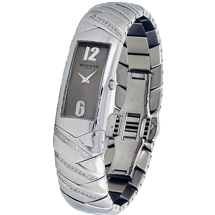 フランスのラグジュアリーブランド ROCHAS(ロシャス)レディース時計 RJ74 ブラウン/シルバー メタルブレスレット バングル ブレスウォッチ 女性用腕時計 スイス製