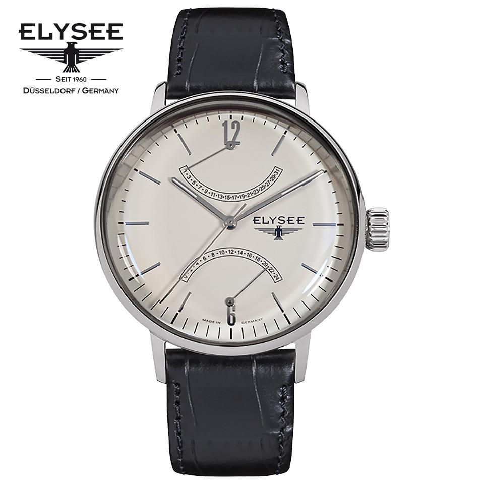 ELYSEE(エリーゼ) ドイツ時計 SITHON 13270 アイボリー/シルバー/ブラック ダブルレトログラード 本革ベルト クラシック メンズ腕時計 ドイツ製 ドームガラス