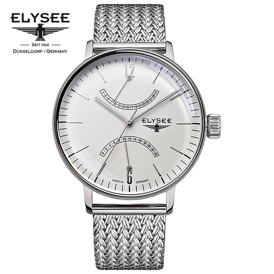 ELYSEE(エリーゼ) ドイツ時計 SITHON 13270 アイボリー/シルバー ダブルレトログラード ミラネーゼブレスレット ステンレスメッシュベルト クラシック メンズ腕時計 ドイツ製 カレンダー