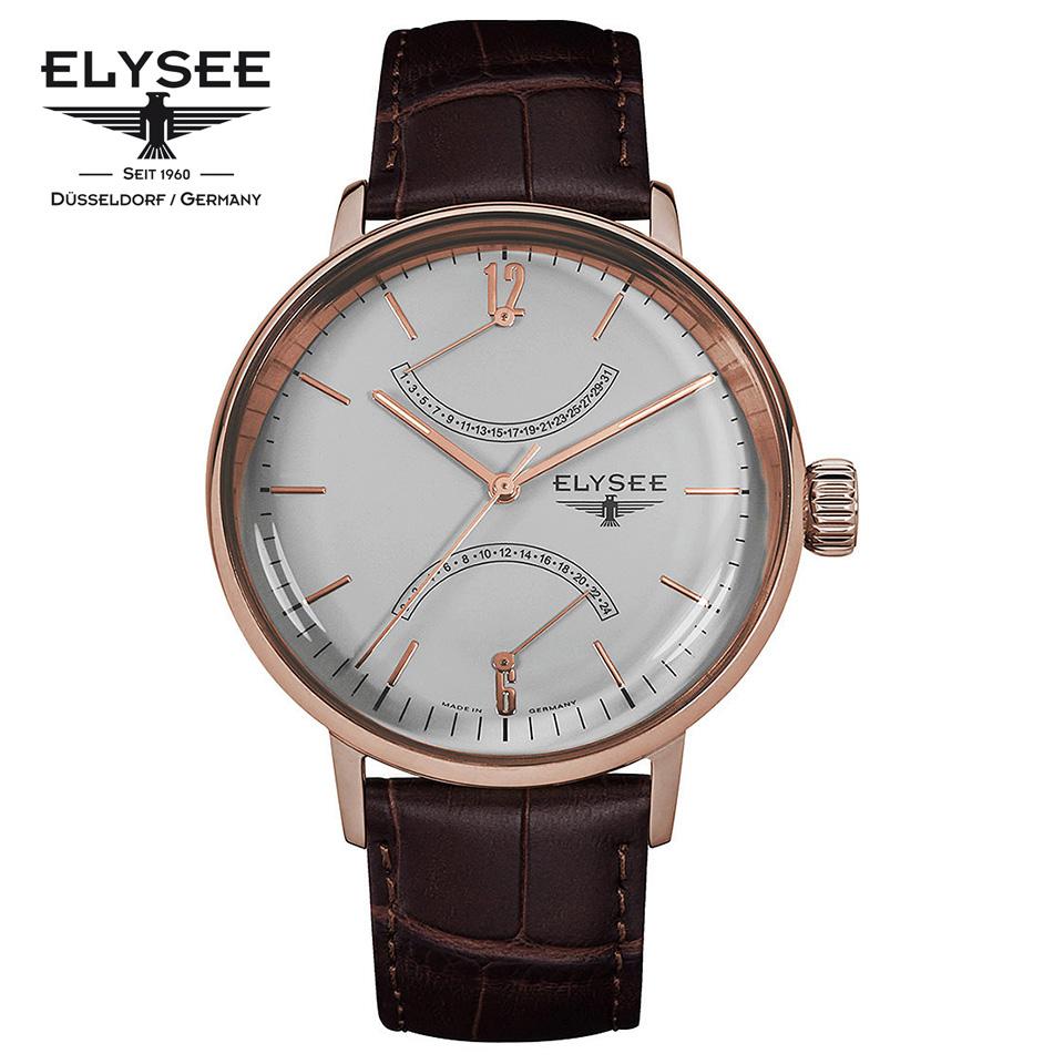 ELYSEE(エリーゼ) ドイツ時計 SITHON 13290 グレー/ローズゴールド/ブラウン ダブルレトログラード 本革ベルト クラシック メンズ腕時計 ドイツ製 カレンダー