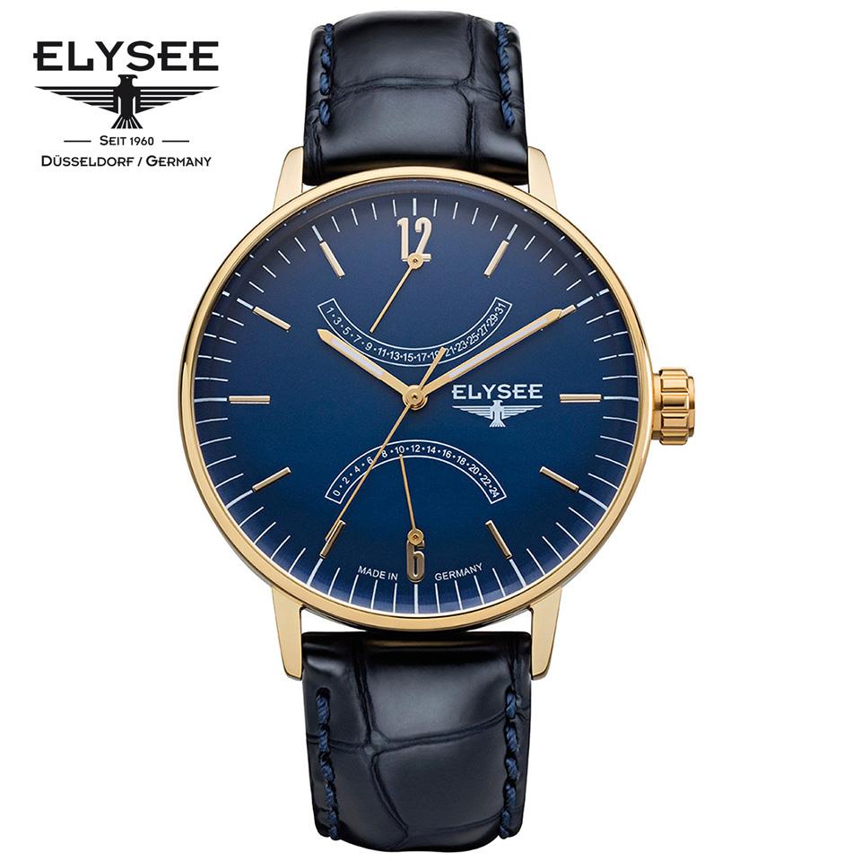 ELYSEE(エリーゼ) ドイツ時計 SITHON 13291 ブルー/ゴールド/ネイビー ダブルレトログラード 本革ベルト クラシック メンズ腕時計 ドイツ製 青金モデル