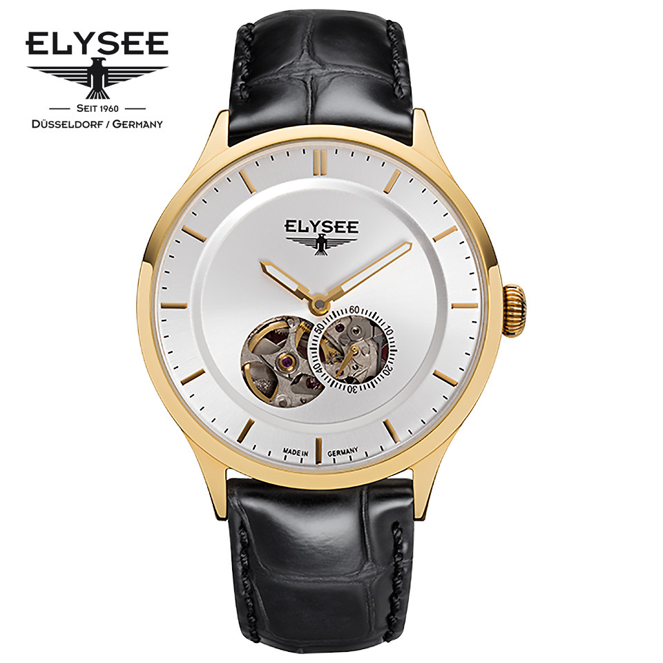 ELYSEE(エリーゼ) ドイツ時計 NESTOR 15102 シルバー/ゴールド/ブラック オープンハート スケルトン クラシック 自動巻き メンズ機械式腕時計 ドイツ製