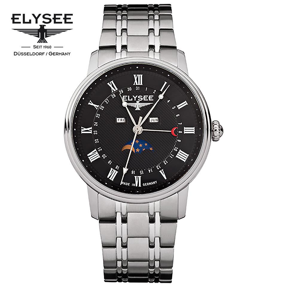 ELYSEE(エリーゼ) ドイツ時計 MONUMENTUM MOON 77003 ブラック/シルバー ムーンフェイズ SSブレスレット クラシック メンズ腕時計 ドイツ製 黒文字盤 カレンダー 月齢