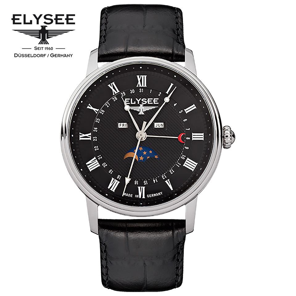 ELYSEE(エリーゼ) ドイツ時計 MONUMENTUM MOON 77003L ブラック/シルバー/ブラック ムーンフェイズ クラシック メンズ腕時計 ドイツ製 黒文字盤 カレンダー 月齢