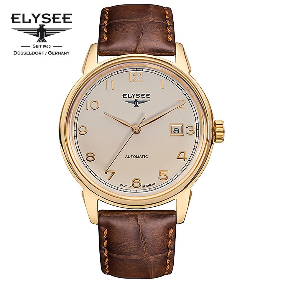 [ポイント10倍] ELYSEE(エリーゼ) ドイツ時計 VINTAGE MASTER 80547 アイボリ―/ゴールド/ブラウン ビンテージ クラシック 自動巻き メンズ機械式腕時計