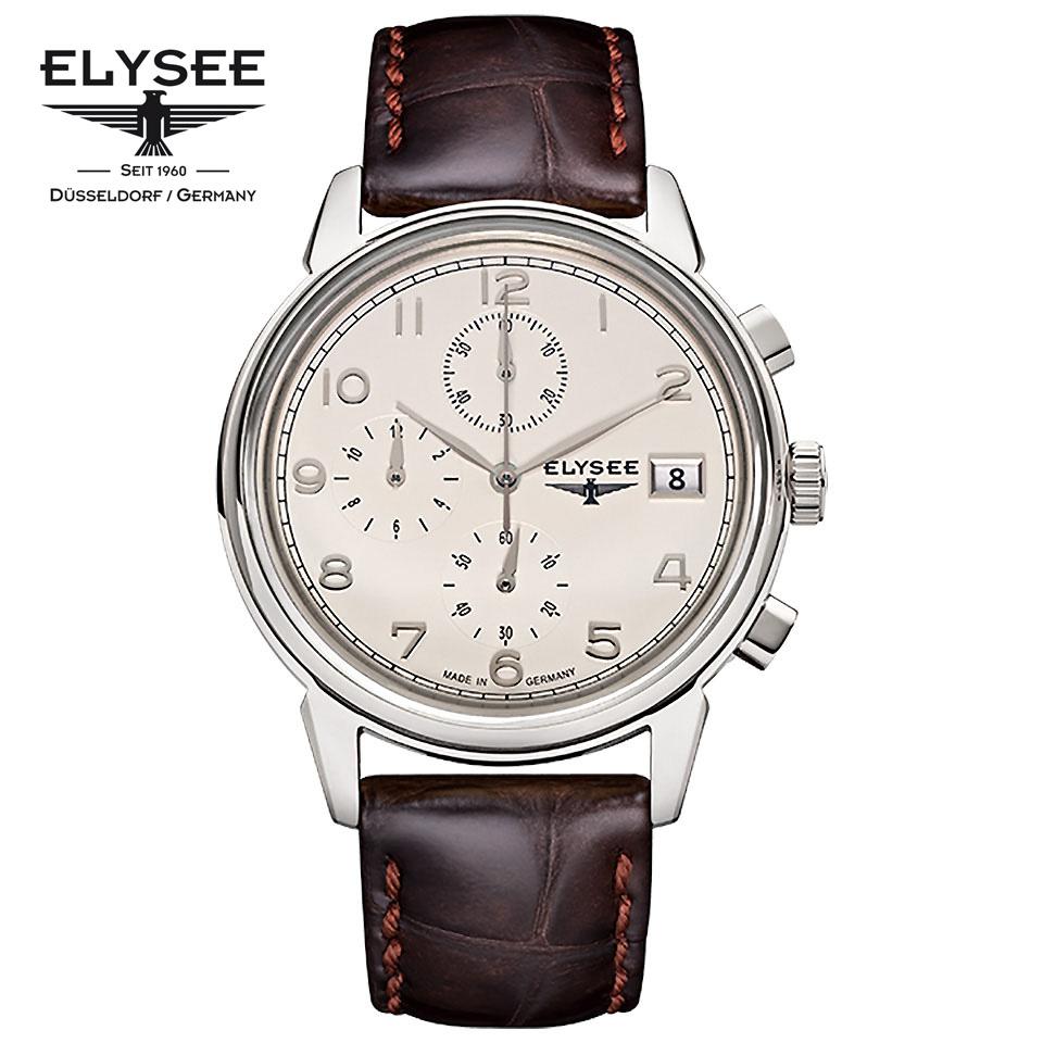 ELYSEE(エリーゼ) ドイツ時計 VINTAGE CHRONO 80550 アイボリ―/シルバー/ブラウン クロノグラフ 1930年代 ビンテージ クラシック メンズ腕時計 ドイツ製