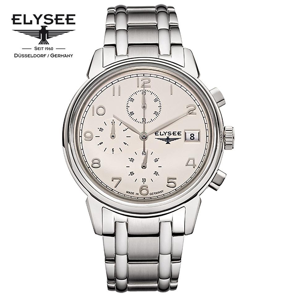 ELYSEE(エリーゼ) ドイツ時計 VINTAGE CHRONO 80550S アイボリ―/シルバー クロノグラフ SSブレス メタルブレスレット 1930年代 ヴィンテージ クラシック メンズ腕時計 ドイツ製