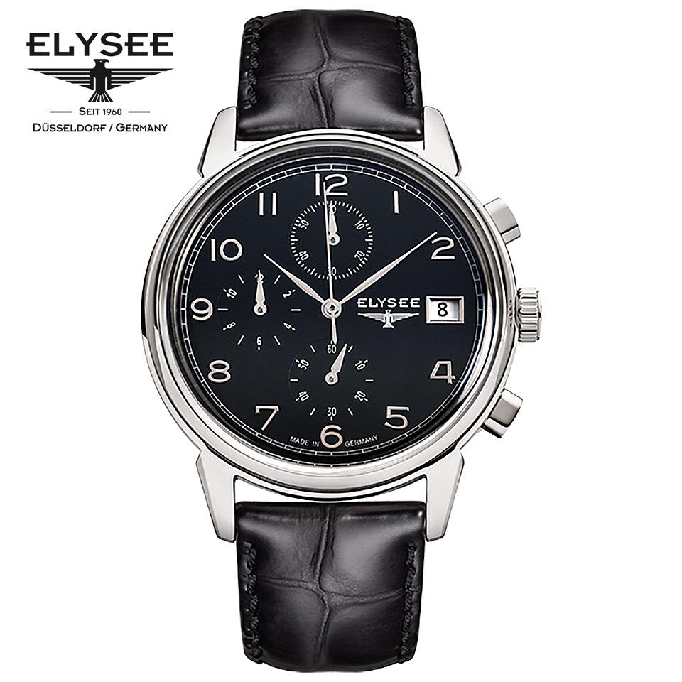 ELYSEE(エリーゼ) ドイツ時計 VINTAGE CHRONO 80551 ブラック/シルバー/ブラック クロノグラフ 黒文字盤 1930年代 ビンテージ クラシック メンズ腕時計 ドイツ製