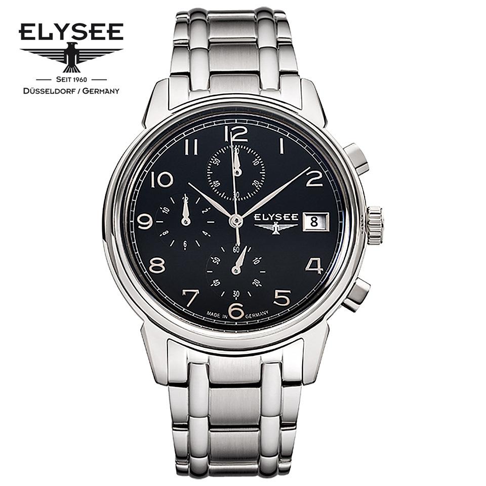 ELYSEE(エリーゼ) ドイツ時計 VINTAGE CHRONO 80551S ブラック/シルバー クロノグラフ 黒文字盤 SSブレス メタルブレスレット 1930年代 ヴィンテージ クラシック メンズ腕時計 ドイツ製