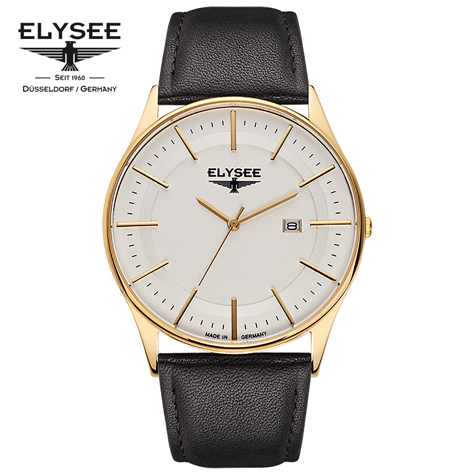ELYSEE(エリーゼ) ドイツ時計 DIOMEDES 2 83016L シルバー/ゴールド/ブラック 超薄型ケース カーフスキン メンズ腕時計 ドイツ製