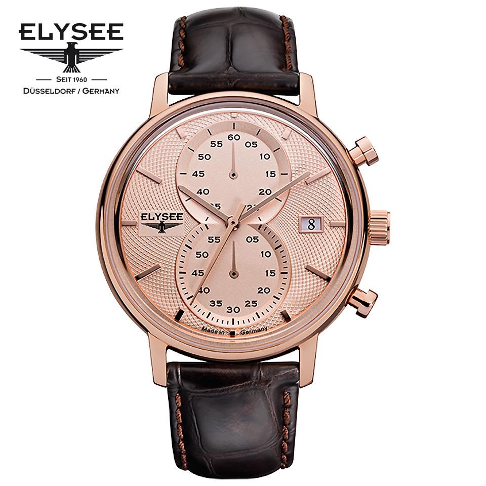 ELYSEE(エリーゼ)MINOS 83821 クロノグラフ 縦目 ドイツ時計 ローズゴールド/ブラウン メンズ腕時計 ドイツ製 上品