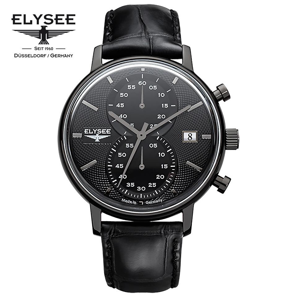 ELYSEE(エリーゼ)MINOS 83822 クロノグラフ ドイツ時計 ブラック/ブラック メンズ腕時計 ドイツ製 ヴィンテージデザイン オールブラック