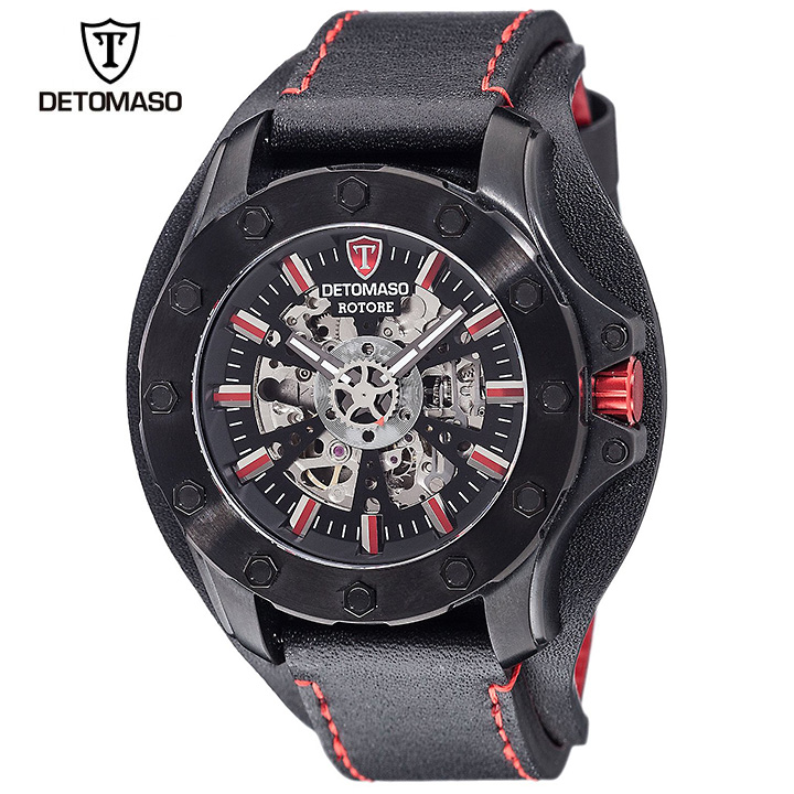 DETOMASO(デトマソ)ROTORE DT2061-A ブラック ビッグフェイス 自動巻き スケルトン メンズ機械式時計