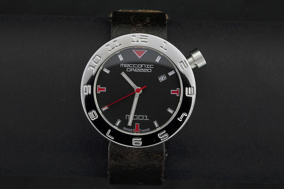 MECCANICA GREZZA(メカニカ・グレッザ) MG01 38L BK-BK スティール/ブラック/ブラック イタリアンデザインウォッチ メンズ・レディース腕時計
