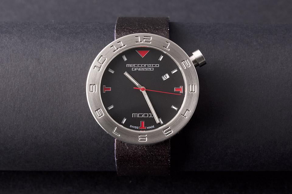 MECCANICA GREZZA(メカニカ・グレッザ) MG01 44S BK-BK スティール/ブラック/ブラック イタリアンデザインウォッチ メンズ機械式腕時計