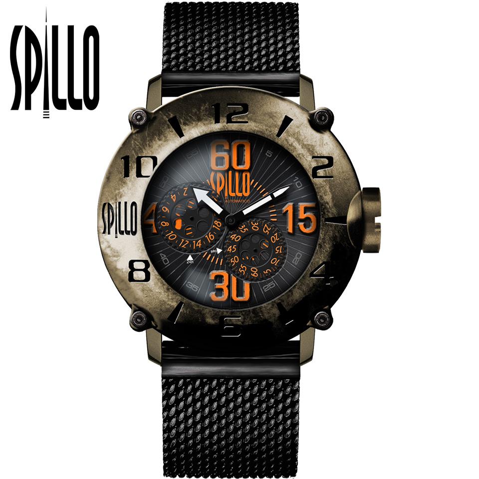 SPILLO(スピーロ)OUTLAW OL1000V6B-MK ブロンズ オレンジインデックス 自動巻き イタリア時計