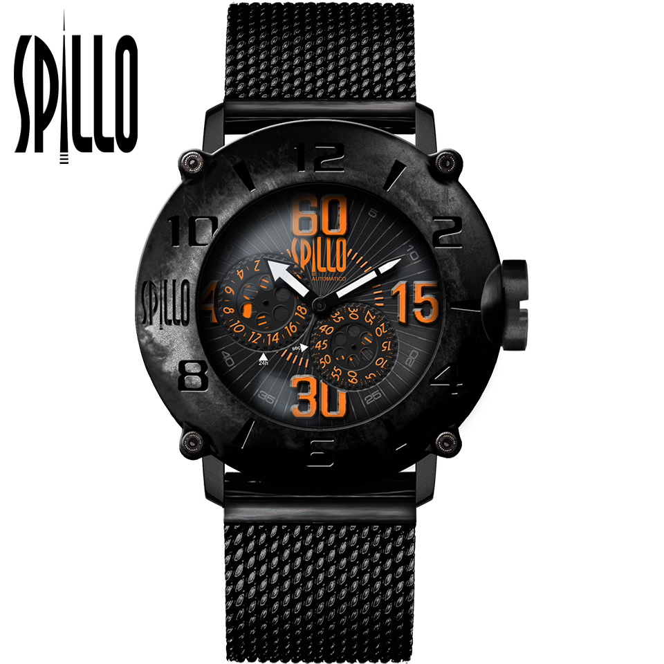 SPILLO(スピーロ)OUTLAW OL1000V6K-MK ブラック オレンジインデックス 自動巻き イタリア時計