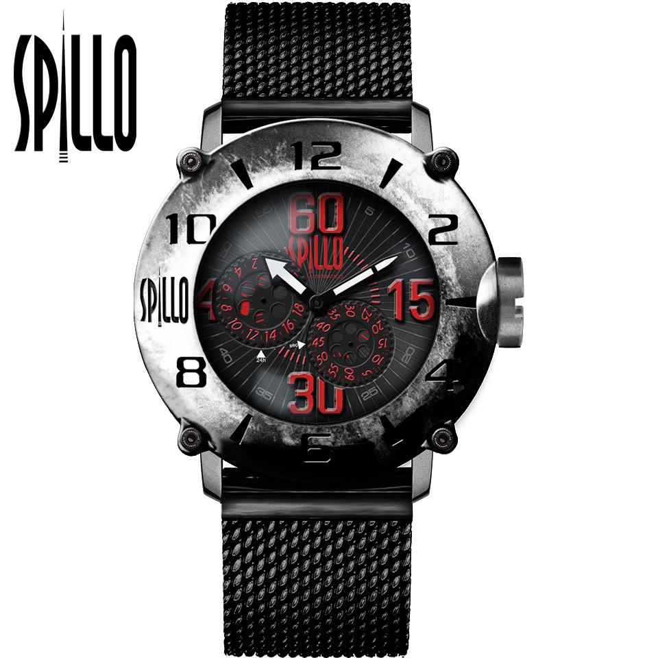 SPILLO(スピーロ)OUTLAW OLP4S-MK スティール レッドインデックス 自動巻き イタリア時計