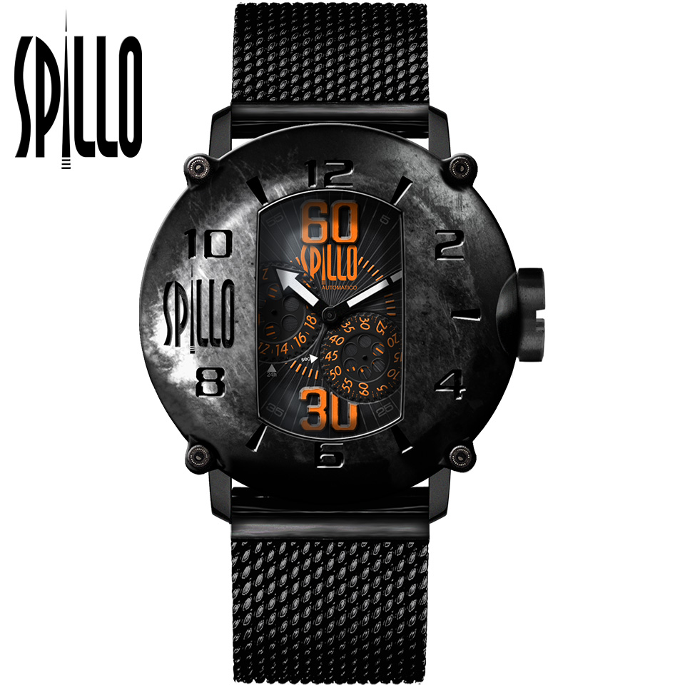 SPILLO(スピーロ)SPEED DEMON SD1000V6K-MK ブラック オレンジインデックス イタリア メンズ機械式腕時計