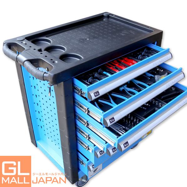 6段キャビネットツールボックス 青 工具149pcs付き 鍵付き / 大型ローラーキャビネット 天板 キャスター ストッパー付き