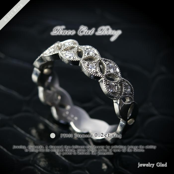【鑑別書付】記念日におすすめレースカット ダイヤ 指輪PT900(プラチナ)ダイヤモンド 0.2ct リング