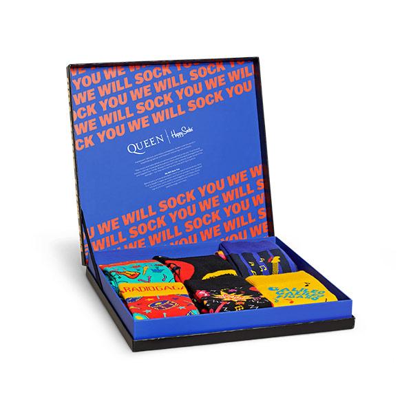 【送料無料】Happy Socks ハッピーソックス【Limited】Happy Socks × QUEEN ( クイーン ) GIFT BOX 6足組 ギフトセット クルー丈 ソックス 靴下ユニセックス メンズ & レディス プレゼント 贈答 ギフト1A443008