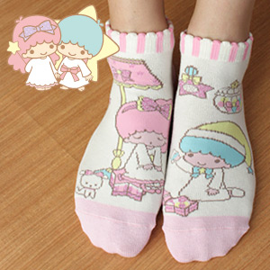 Little Twin Stars - Dreamy Magic Women's Socks / Sneaker socks / Ankle socks / Different pattern on left & right / Made in Japan / 3767-236 / All Items - Point x 10 !!