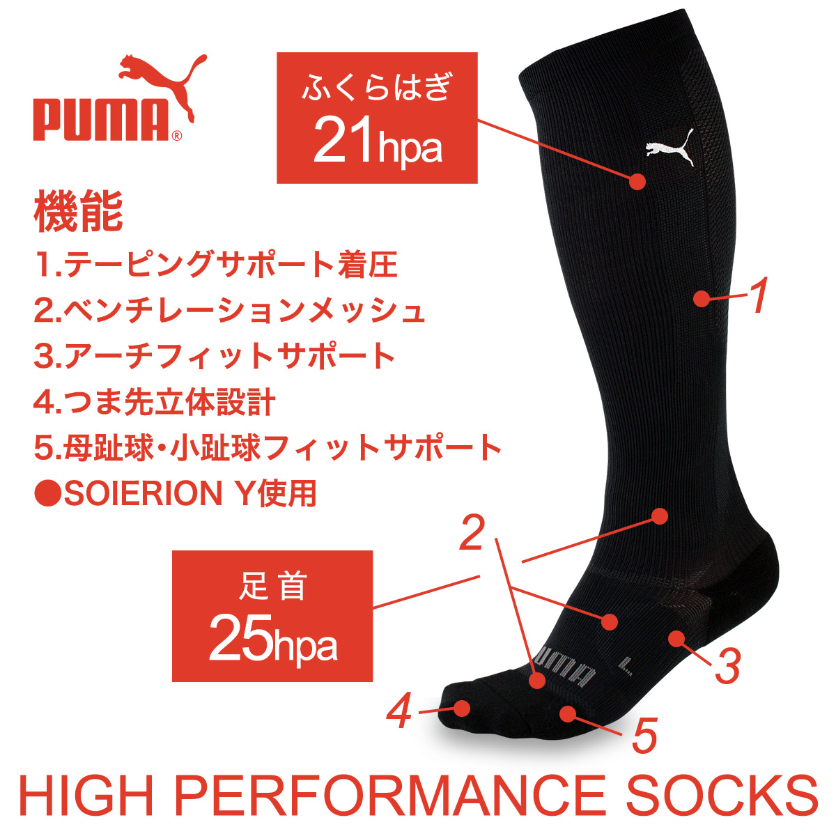 """PUMA - Unisex Outdoor/Sport Knee-High Socks / Strong Compression / 3D Design / Arch Fit Support / Quick Dry """"SOIERION"""" Fabric / puma-216 / Made in Japan / All Items - Point x 10 !!"""