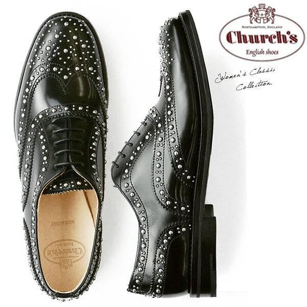 【送料無料】チャーチChurch's レディース オックスフォード エナメル おじ靴 レースアップ スタッズ Burwood Met Black Polished Binder メタル スタッズ がぎっしり施された モード デザイン 上質レザー 使用