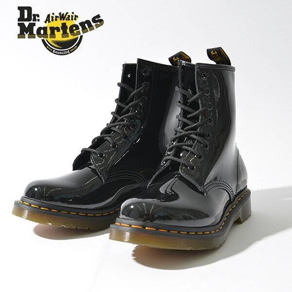 Dr.Martens ドクターマーチン 8ホール レディース 1460W 8EYE BOOT 11821011 パテント ブラック 黒 レースアップ ブーツ レースアップブーツ ショートブーツ ワークブーツ 定番 8 eye boots 革靴