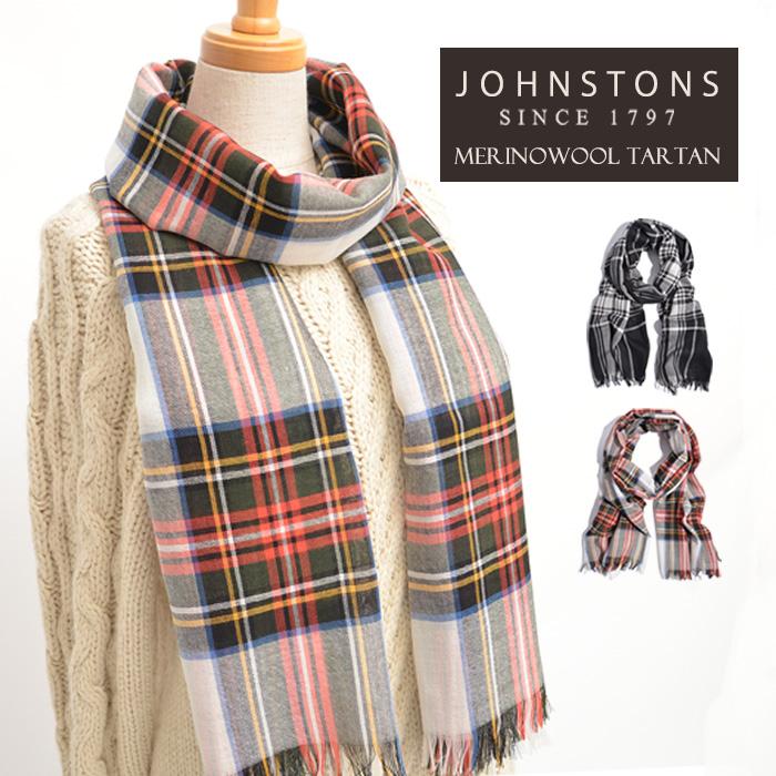 ジョンストンズ ストール マフラー メリノウール ウールWD001093 Johnstons Merinowool Tartanタータン チェック ふんわり柔らかな暖かい肌触り 大人の上品