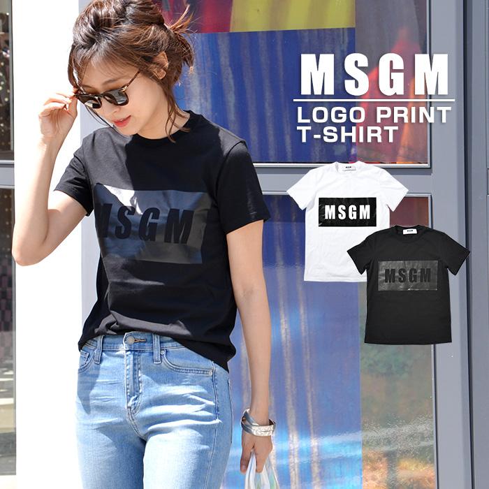 MSGM Tシャツ ロゴT ロゴ エム エス ジー エム MSGM MDM95 イタリア ミラノ 定番 トップス 半袖 ブランド ロゴtシャツ プリント半袖 tシャツ XS S M サイズ ホワイト ブラック 白 黒