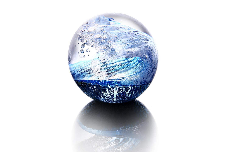 Big wave ブルー S 海 波 ガラス ペーパーウエイト 置物野口硝子 FUSION FACTORYハンドメイド グッズ 置物 オブジェガラス細工 吹きガラス贈答品 記念品 日本製 日本土産 きれい おしゃれ 誕生日 ギフト FF-008-04