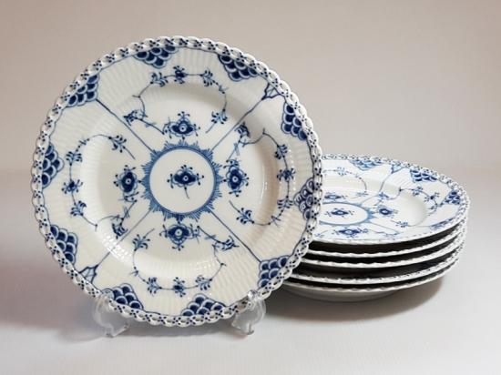 ロイヤルコペンハーゲン プレート■ブルーフルーテッド フルレース ディナープレート 6枚 大皿 1級 美品