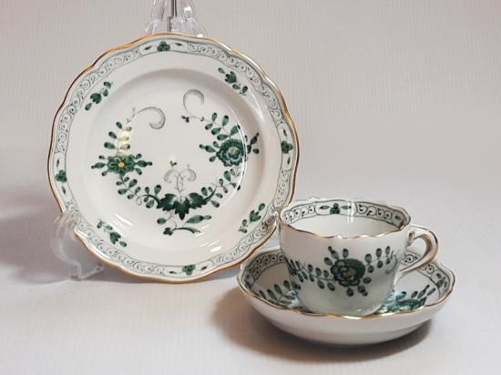 マイセン カップ&ソーサー プレート■インドの華 グリーン C&S ミニプレート 小皿 1組 トリオ 1