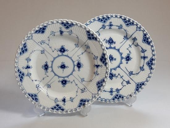 ロイヤルコペンハーゲン プレート■ブルーフルーテッド フルレース ディナープレート 2枚 大皿 1級品