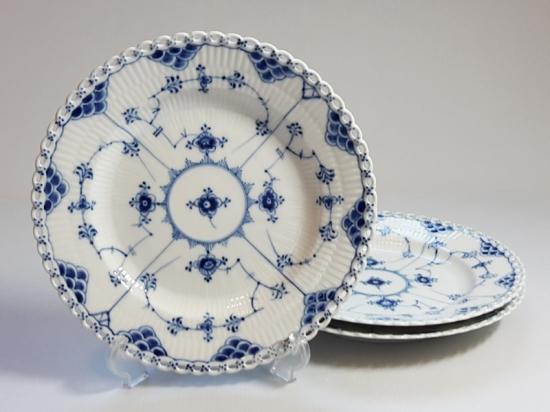 ロイヤルコペンハーゲン プレート■ブルーフルーテッド フルレース ディナープレート 皿 3枚セット 1級品