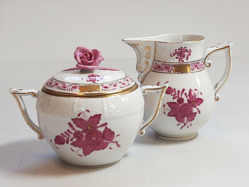 ヘレンド シュガーポット&クリーマー■アポニー ピンク 小物入れ ミルク差し2点セット インドの華 1級品 美品