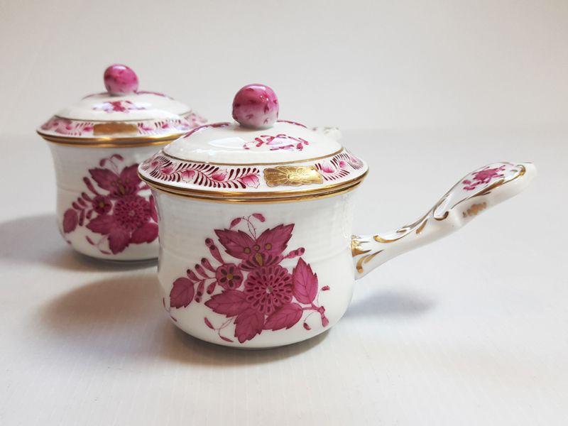 ヘレンド カップ■アポニー ピンク 蓋つきタートルスープカップ 2客 インドの華 1級品 1
