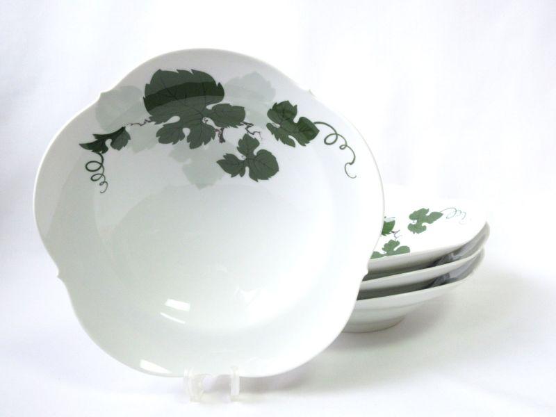 マイセン プレート■ヴァインリーフ ワインリーフ 葡萄の葉 スーププレート リム付き ボウル 葉 グリーン 深皿 4枚セット Meissen 1