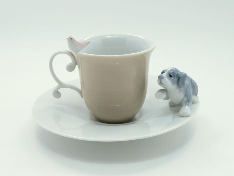 リヤドロ カップ&ソーサー■犬と小鳥 C&S 1客 Lladro 美品
