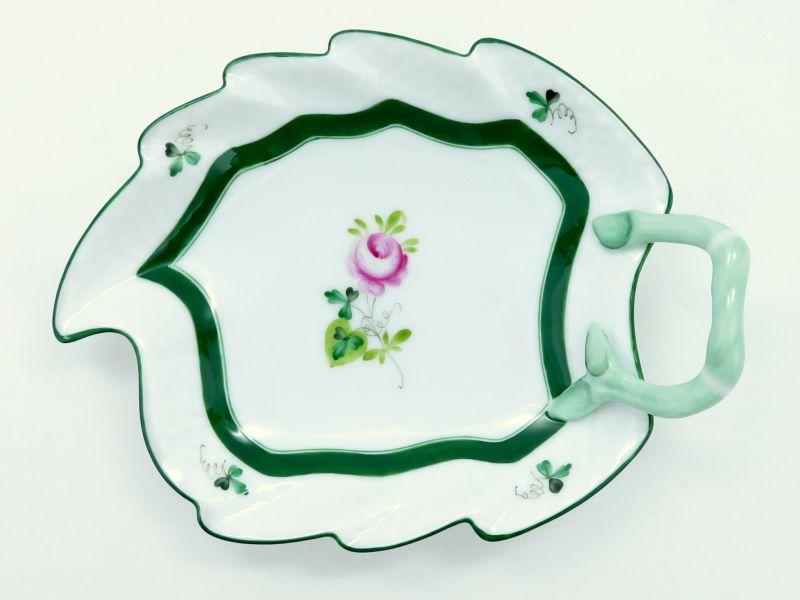 ヘレンド プレート■ウィーンのバラ リーフプレート 1枚 葉型 皿 薔薇 1級品