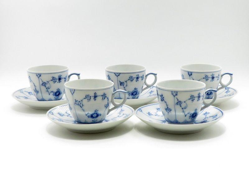 ロイヤルコペンハーゲン カップ&ソーサー■ブルーフルーテッド プレインレース コーヒーC&S 5客セット 1級品