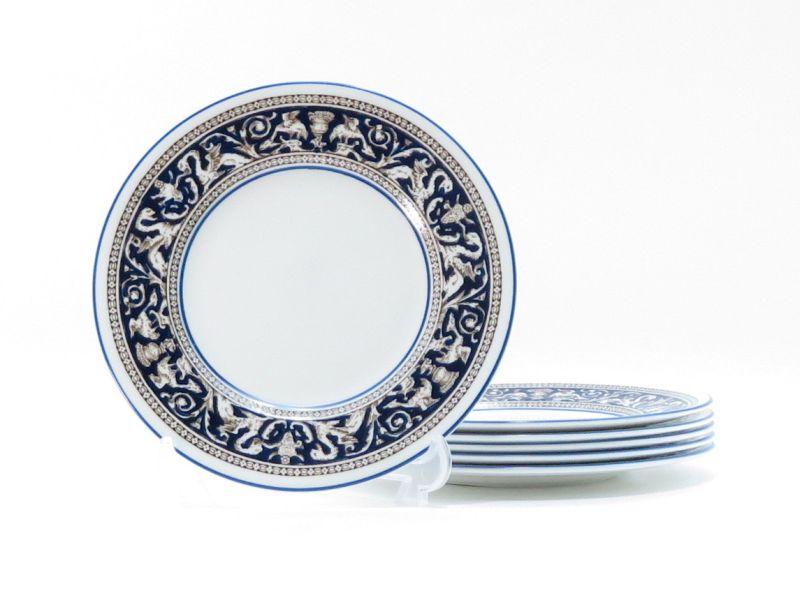 ウェッジウッド プレート■フロレンティーン コバルト ブルー デザートプレート 6枚セット 1級品