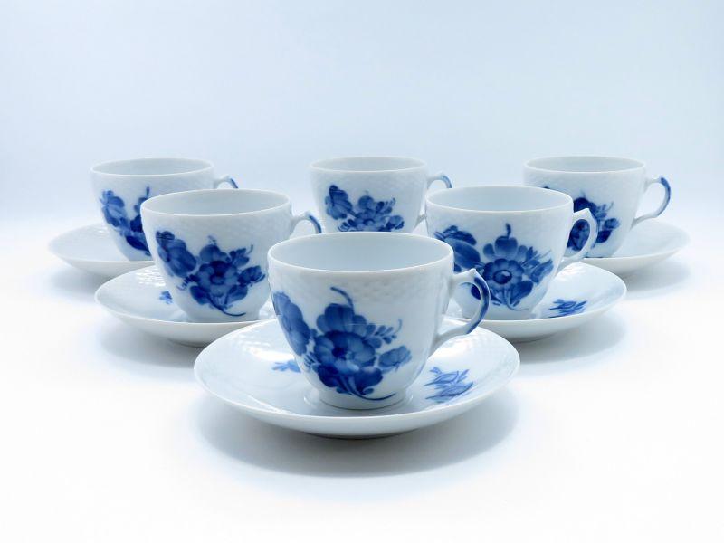 ロイヤルコペンハーゲン カップ&ソーサー■ブルーフラワー プレイン コーヒーC&S 6客セット 皿 1級品