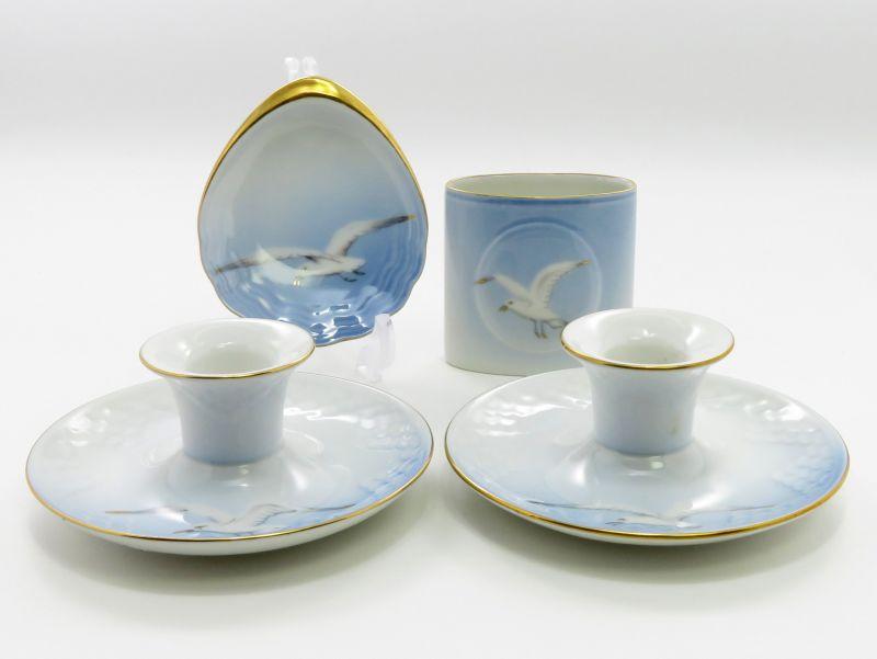 ビングオーグレンダール B&G セット■シーガル キャンドル立て ペン立て 小皿 4点セット 金彩 カモメ