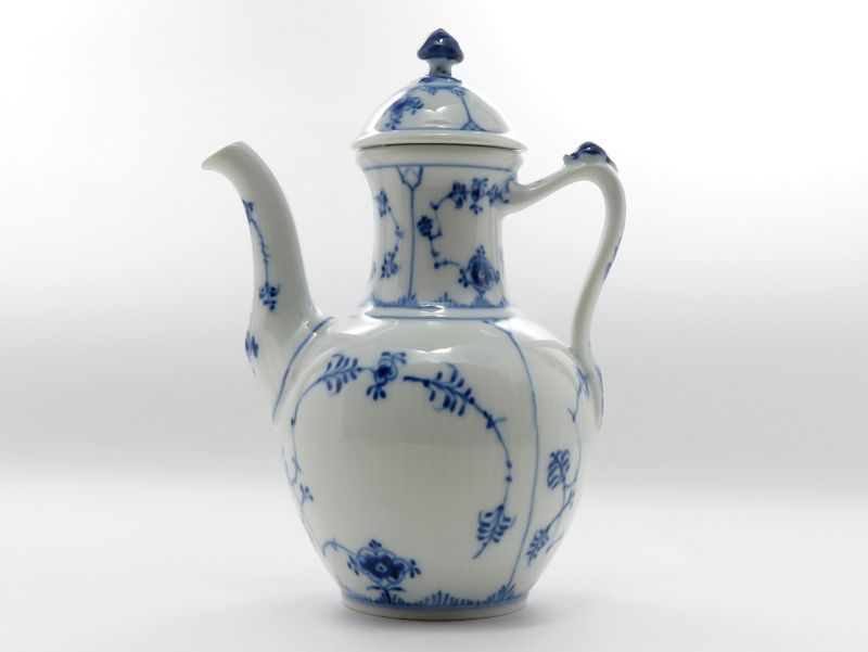 ロイヤルコペンハーゲン ポット■ブルーフルーテッド プレインレース コーヒーポット 1級品 美品