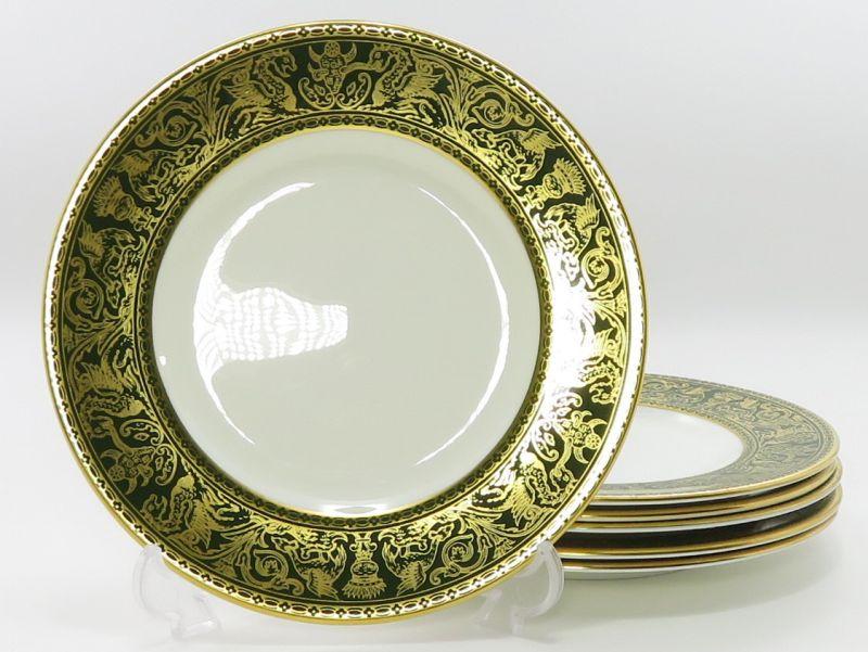 ウェッジウッド プレート■フロレンティーン グリーン&ゴールド デザートプレート 皿 6枚セット 1級品